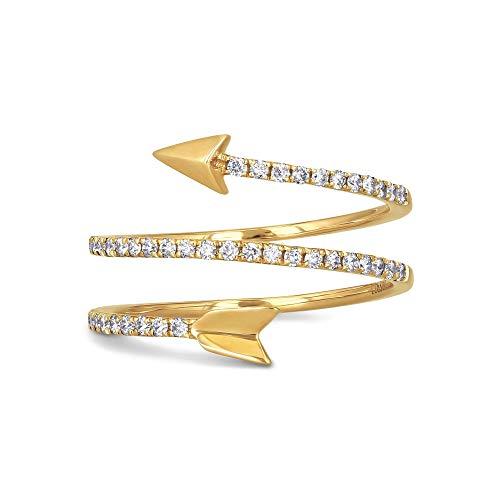 18K Yellow Gold Diamond Arrow Wrap Around Ring, 0.33 cttw, Size 5