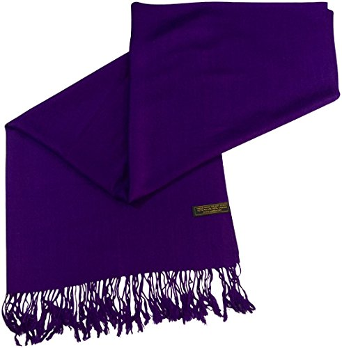CJ Apparel Purple Solid Color Design Nepalese Shawl Scarf Wrap Pashmina Seconds NEW