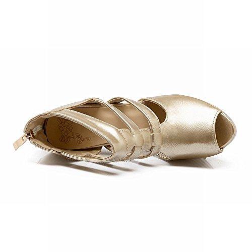 Mee Shoes Damen reizvoll modern populär Peep toe Reißverschluss Knöchelriemchen Trichterabsatz Plateau Sandalen Gold