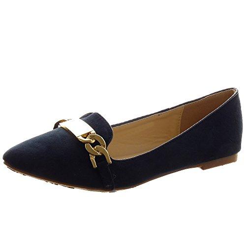 Sopily - Scarpe da Moda ballerina alla caviglia donna fibbia metallico Tacco a blocco 1 CM - Blu