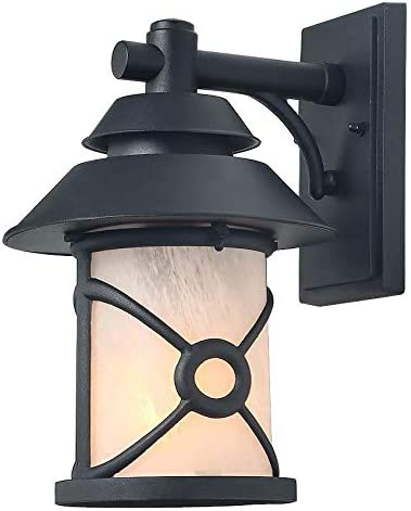 LALUZ Outdoor Wall Light, Farmhouse Outdoor Light Fixture Wall Mount with Frosted Glass for Entryway, Patio, Garden, Front Porch, 13.5 H x 10.5 L x 9 W