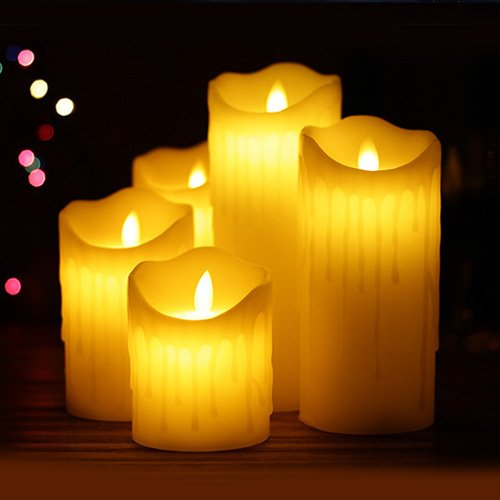 Batteriebetriebene Kerzen Mit Beweglicher Flamme.Hichili Flammenlose Led Kerzen Echtwachskerze Mit Beweglicher Flamme Timerfunktion Mit Fernbedienung Elektrische Batteriebetriebene Kerze Lampe