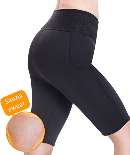 Gotoly Neoprene Pants Gym Workout Sweats Sauna Yoga Thigh Slimmer (Large, Black)