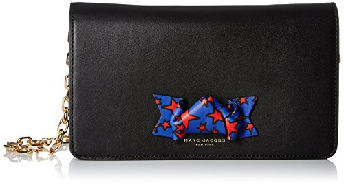 Marc Jacobs Women's Bow Wallet with Crossbody Chain, Black, One Size