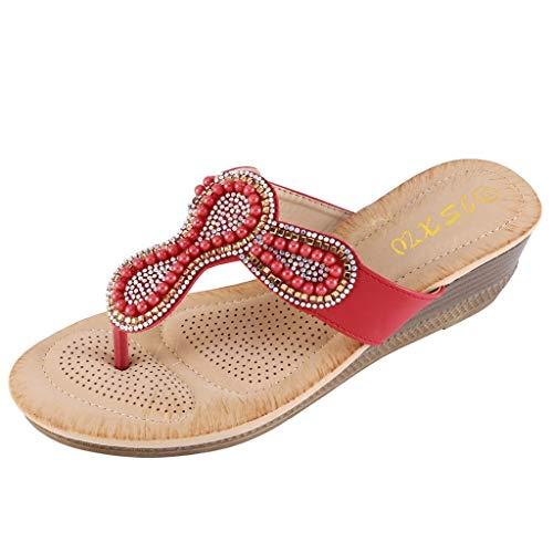 Corriee Ladies Summer Boho Beaded Slippers Women Fashion Flip Flops Wedges Outdoor Shoes Office Footwear Red