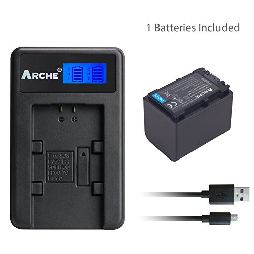 ARCHE NP-FV70 Battery <1 Pack> and LCD Single Charger Set for [Sony HDR-SC45, SC85, XR260V, CX190, CX200, CX210, CX260V, CX580V, CX760V, PJ200, PJ260V, PJ580V, PJ710V, PJ760V, TD20V, VG20H Camcorder] by ARCHE