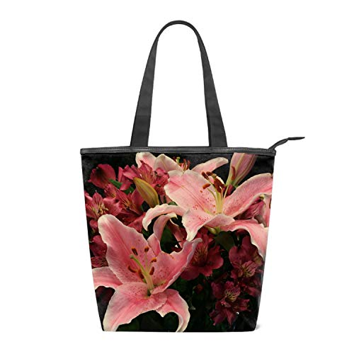 Women's Canvas Tote Lilies Alstroemeria Flowers Bouquet Shoulder Bag Stylish Shopping Casual Bag Travel Bag