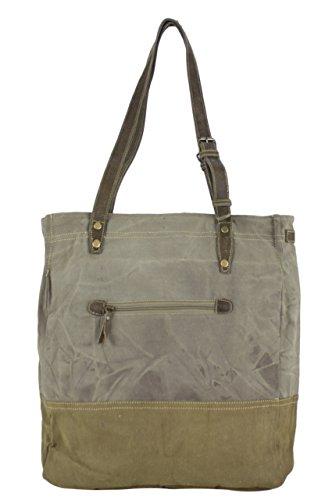 Sunsa Damen Vintage Tasche Shopper Schultertasche Handtasche aus Canvas / Segeltuch mit Leder