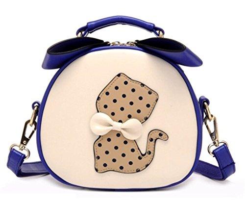 Bag for Messenger Leather Girls PU Purse Navy Small Handbag Blue Cat Shoulder Crossbody Women Katoony Satchel Bag A FWIqRC7Ix