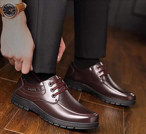 LQV Herren Leder Schuhe Frühling Business Kleid Schuhe beiläufige Schuhe Schuhe von Mittlerem Alter Vaters Schuhe Schuhe Runden Kopf Niedrig, Um Bequem und Atmungsaktiv zu Helfen Braun c983ab
