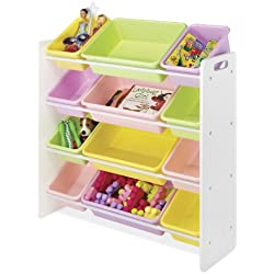 Whitmor Kid's Toy Storage - 12 Easy Clean Bins - 4 Tier Toy Rack and Book Organizer - Pastel Colors