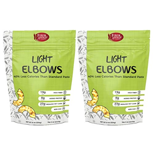 Light Elbow Macaroni Noodle Pasta: Low Calorie, Low Carb, High Protein, Vegan, Non GMO, Two (2) 8-ounce packages