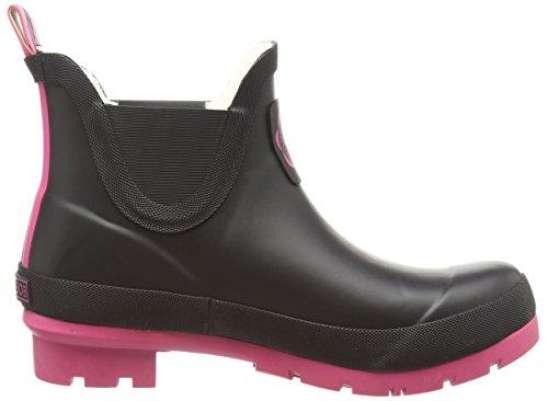 Joules Wellibob - botines bajos con forro cálido de goma mujer Negro/rosa (Cerise Negro/rosa)