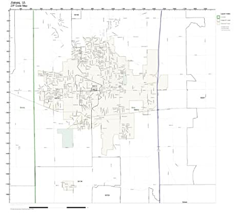 Amazon.com: ZIP Code Wall Map of Ames, IA ZIP Code Map Laminated