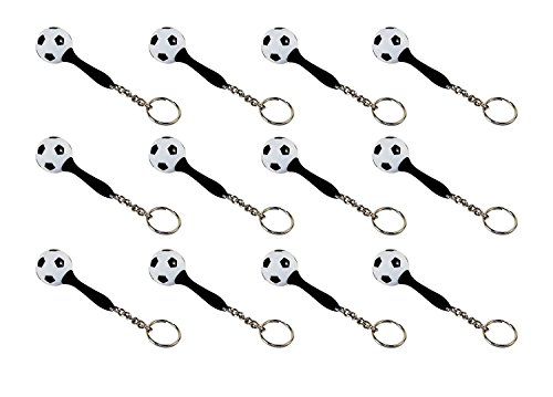 Lot of 12 - Mini Maraca Soccer Ball Keyring, Rubber Handle, Stainless Chain & Ring.