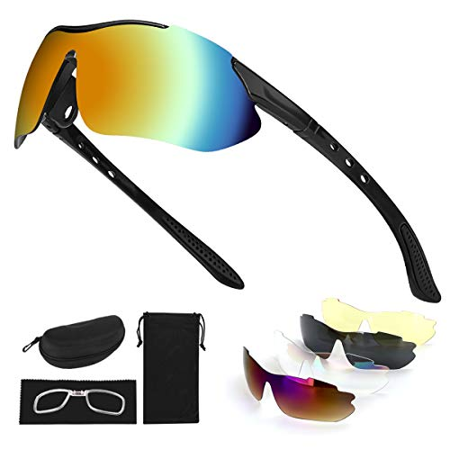 Tancci Sports Cycling Sunglasses, Bicycle Glasses with 5 Interchangeable Lenses-Ergonomic with Reducing Harmful UVA & UVB Rays for Men&Women Running/Golf/Fishing/Cycling/Outdoor Sports(Black