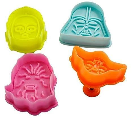 Juego de 4 Star Wars Cookie Cutter émbolo para Pasteles Moho Moho Decoración Fondant Moldes Hornear presupuesto Objetos: Amazon.es: Hogar