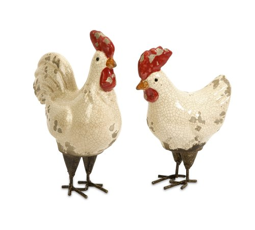 Small Rooster Figurine - IMAX 50297-2 Quinn Roosters, Set of 2