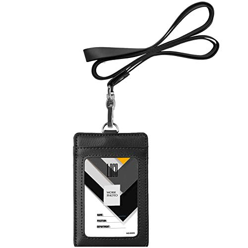 Flag Genuine Leather Chain Wallet - Indressme 2-Sided Vertical Genuine Leather ID Badge Holder with Lanyard