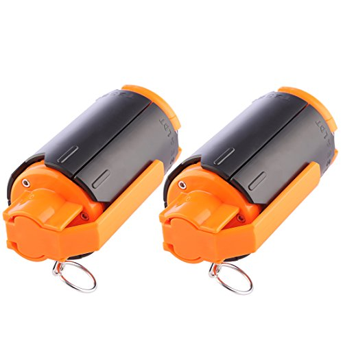 Lingxuinfo Tactical Grenades, 2 Pack Plastic CS Grenade Water Bullet Bomb Foam Bullet Ball Grenade for nerf CS Game