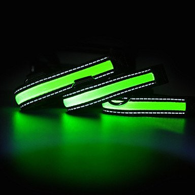 Quick shopping Nylon LED Night Safty Adjustable Collar for Pets Dogs (Assorted Sizes) , Green , L