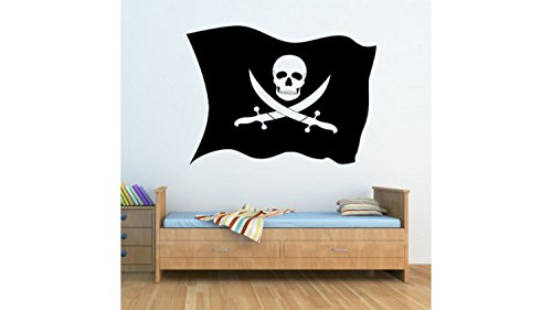 Pirate Flag Jolly Rodger Wall Stickers Wall Nursery Baby Girl Baby Boy Children Kids Room Bedroom Sticker (Cheap Pirate Flags)