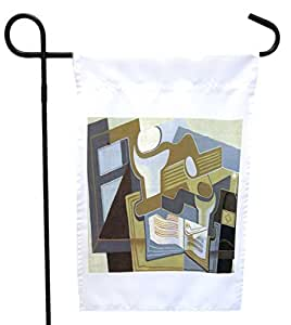 Rikki Knight Juan Gris Art Guitar and Fruit Bowl 3 House or Garden Flag with 11 x 11-Inch Image, 12 x 18-Inch