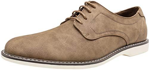 - JOUSEN Men's Oxford Shoes Classic Breathable Shoe Plain Toe Business Casual Shoes Men(7,Brown-f)