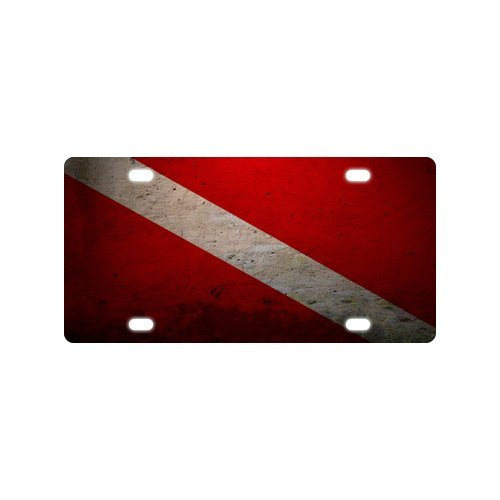 (Custom Scuba Diver Down Flag Metal License Plate for Car (New) 12