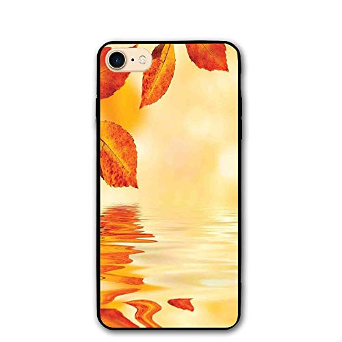 Haixia iPhone 7/8 Shell 4.7 inch Burnt Orange Autumn Maple Leaves Shadow On The Water Mystic Magical Sun View Sadness Art Decorative Golden Orange