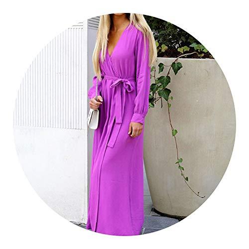 Long Dress V Neck Long Sleeve Lace Up Split Maxi Dresses Winter Casual Dress Vestido,Purple,S