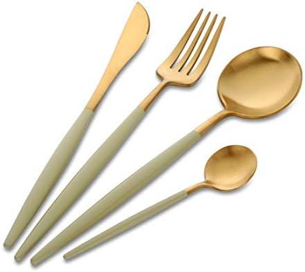 4 piezas Oro y Verde Cuberteria, Buyer Star Acero Inoxidable Mostrada Juego de Mesa Cuchillo Tenedor Cuchillo Dorado Vajilla