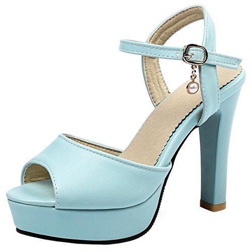 RAZAMAZA Sandalias Tira de tobillo de mujer Plataforma Tacones de Peep Toe Azul