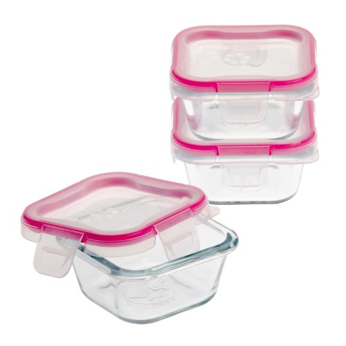Snapware 884408024260 1109328 6-Piece Glass Square Container Set with Total Solution Lid, Clear