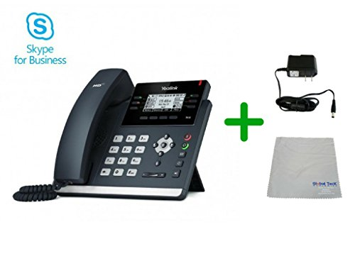 Yealink T42S Skype for Business SIP POE Office Phone Bundle with Power Supply and Microfiber Cloth| Requires VoIP Service - Vonage, Ring Central, 8x8, Mitel or Cloud Services| #YEA-T42S-SFB-PS5V1200US