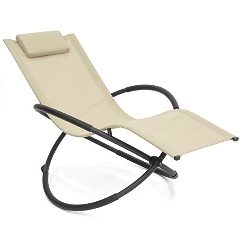 Best Choice Products Folding Orbital Zero Gravity Lounge Chair w Removable Pillow Beige