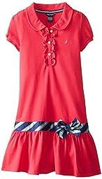 Nautica Big Girls\' Pique Polo Dress with Gold Buttons, Medium Pink, 8