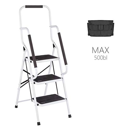 (3 Step Ladder Tool Ladder Folding Portable Steel Frame MAX 500 lbs Non-Slip Side armrests Large Area Pedals Detachable ToolBag Suitable for Home Office Engineering)