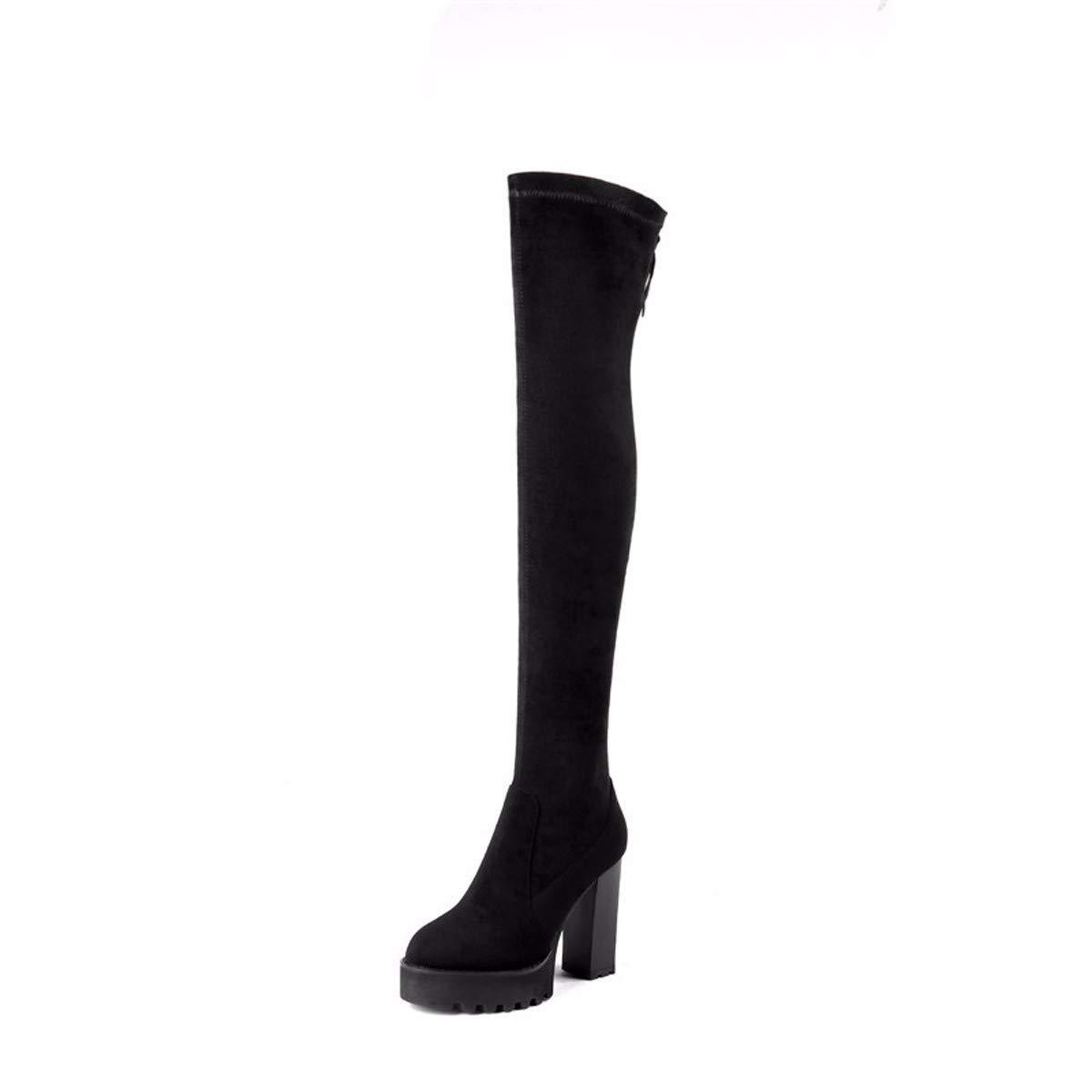 KPHY Damenschuhe Elastische Längen Röhre Ritter - Stiefel High 10.5Cm Wasserdichte Plattform Dicke Stiefel Schwarze Stiefel In Die Knie.