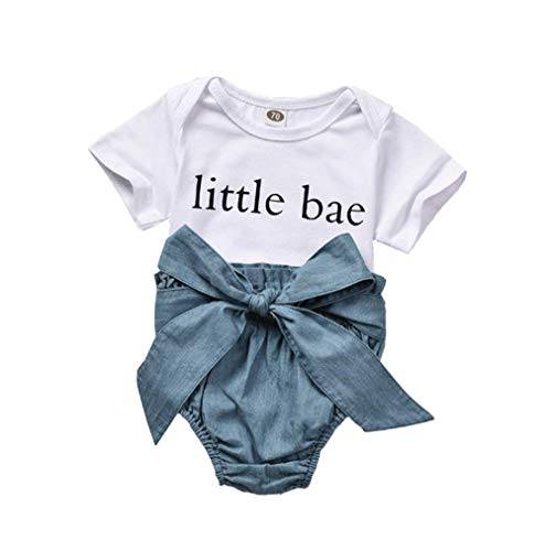 Honykids Baby Girl Boy Clothes Little Bae Romper+ Long Waisted Denim Bloomers Outfits (Blue, 0-6 Month)