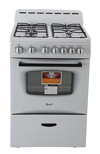White Freestanding Gas Range (AVANTI GR2414CW Gas Range Sealed Burners, 24