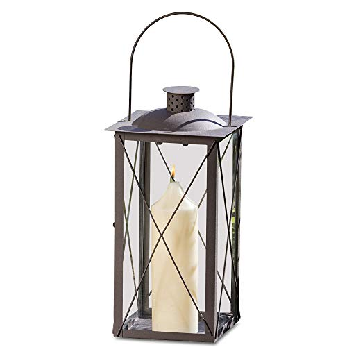 Whole House Worlds The Urban Chic Industrial Metal Cross Post Hurricane Lanterns, 15 3/4 Inches Tall (40cm), Rustic Anthracite Brown Colored Iron and Crystal Clear Glass Panels, Vintage Style, By