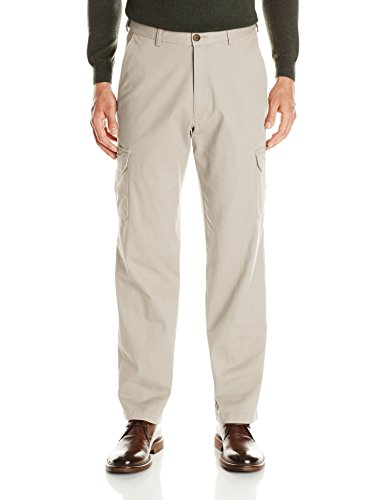 Haggar Men's Stretch Comfort Cargo Expandable Waist Classic Fit Plain Front Pant, Putty, 34x30