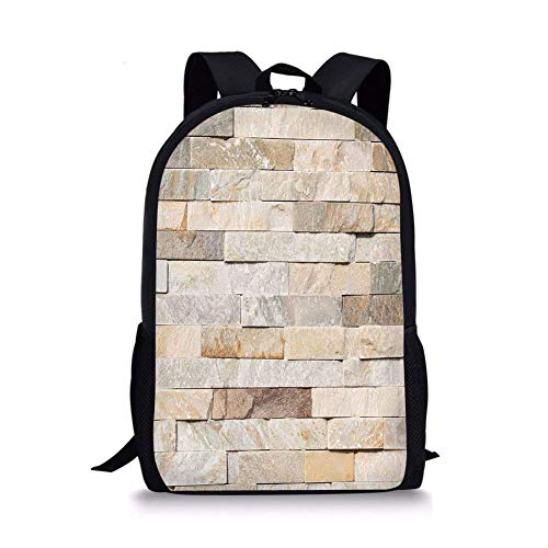 (School Bags Ivory,Urban Brick Wall Background Modern and Stylized Kitsch City Life Surface Print,Cream Beige Tan for Boys&Girls Mens Sport)
