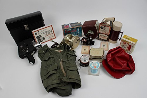 Boston Red Sox – Ted Williams Outdoorsman Endorsed Item Lot – 10 Incl. Sears 8mm Camera w/Case, (3) Fishing Reels, Thermos, Hat, Vest, Fish Call - Outdoorsman Shop Sport