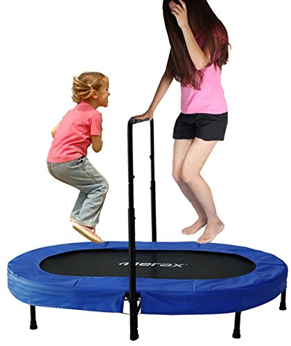 Merax Parent-Child Trampoline Twin Trampoline with Adjustable Handlebar (Blue Pad)