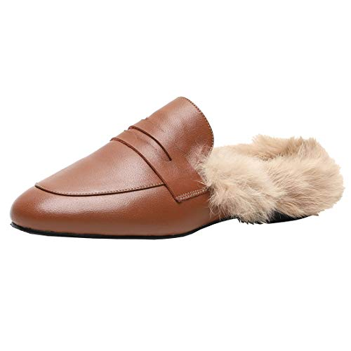 Agodor Women's Flats Suede Leather Slingback Mules with Faux Fur Slip on Outdoor Dress Slippers Classic Shoes (US 6, Camel)