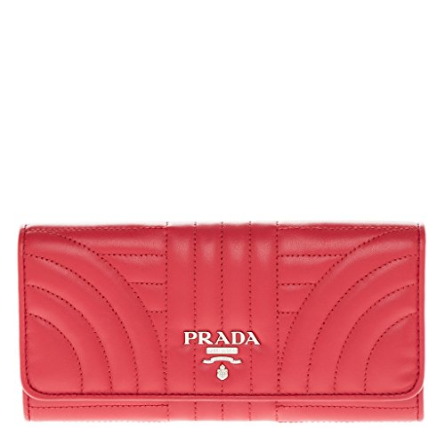 Prada Red Leather - Prada Women's Quilted Calf Leather Wallet Red