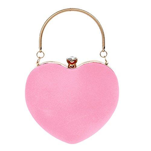 Buddy Mini Handbag Women Heart Shape Clutch Purse Velvet Shoulder Bag Evening Tote Chain Purse Pink