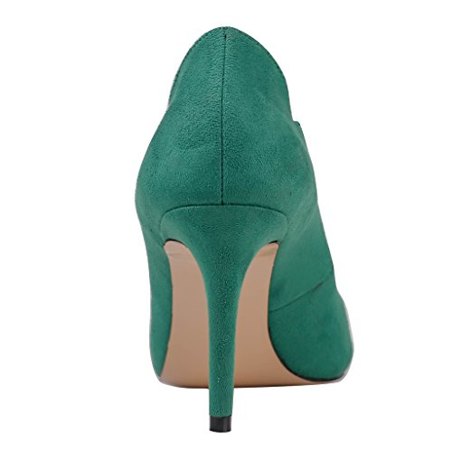 MERUMOTE - tacón fino alto mujer Verde - Green-suede